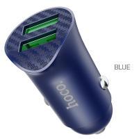 Автомобильное зарядное устройство HOCO Z39 Farsighted, 2*USB, синий
