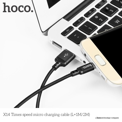 Кабель USB HOCO X14 Times speed, USB - MicroUSB, 2А, 2 м, черный